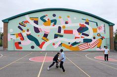 Mural at the Town of Mount Royal Curling Club on Behance Murals Street Art, Environmental Graphics, Environmental Design, Op Art, School Murals, Peter Paul Rubens, City Illustration, Digital Illustration, Mural Wall Art