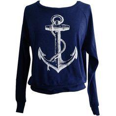 ANCHOR Raglan Sweatshirt - Nautical Sailor Sweater American Apparel... ($25) ❤ liked on Polyvore