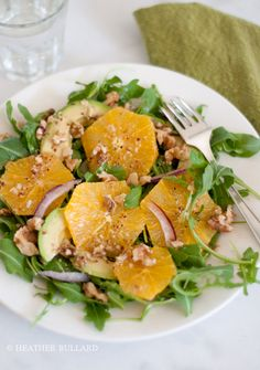 Avocado, aragula and orange salad