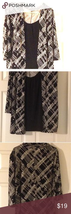 "Black and White Career Top The item featured in this listing is a GENTLY USED ""East 5th"" one piece blouse size 18/20 (2x).   This beautiful and comfy top is in excellent pristine condition.  It is very clean,  it has no stains or rips, and it is machine washable.!! Tops Blouses"