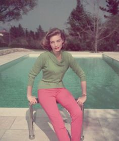 lauren bacall. 50's fashion. love the casual relaxed style. beautiful and functional.