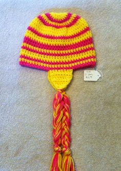 Pink lemonade beanie by EnglishHouseCrafts on Etsy, $14.00