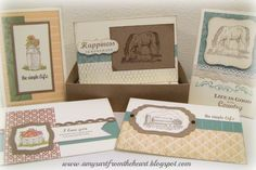 Country Born card set in recycled BirchBox, CTMH, Amy's Art from the Heart