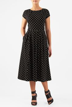 Pleat neck belted polka dot cotton knit dress #eShakti