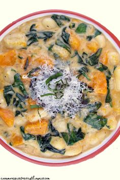 Clouds of gnocchi nestle themselves in a creamy sauce amongst sweet hunks of butternut squash, tender baby spinach, fresh herbs and Parmesan cheese.