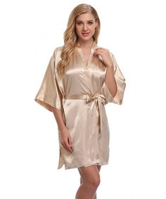 520587100b Women s Satin Kimono Robes Short Wedding Bath Robes For Bridesmaids and  Bride - Apricot - C012BH2LQP9