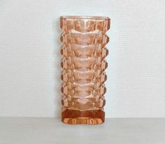 Pink Depression cut glass Vase 1920-1930. Art by VintagetoFrance