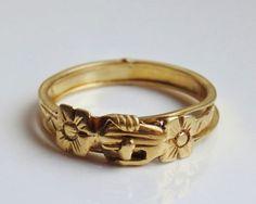 Rare Georgian Scottish 18k Gold Fede Gimmel Ring Wedding Betrothal Ring c.1785