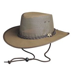 Brown outdoor hat   leather outback hat   breathable hat
