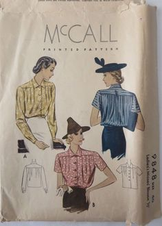 Vintage 1938 McCall Printed Pattern 9848 Size 40