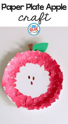 Get kids excited about apples and fall with this fine motor paper plate apple craft using torn paper. It's adorable and classroom friendly! (arts and crafts projects fine motor) K Crafts, Alphabet Crafts, Daycare Crafts, Letter A Crafts, Classroom Crafts, Toddler Crafts, Preschooler Crafts, Children Crafts, Craft Kids