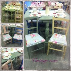Shabby chic vintage table and mismatched chairs