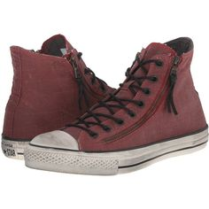 Converse by John Varvatos Chuck Taylor All Star Double Zip Hi (Painted... ($128) ❤ liked on Polyvore featuring shoes, sneakers, brown, lace up high top sneakers, brown high tops, metallic high top sneakers, brown high top sneakers and lacing sneakers