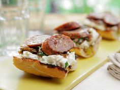 Grilled Sausages with Grilled Shallot Relish with Fresh Ricotta and Toasted Baguette