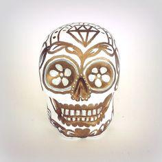 Ceramic Sugar Skull Gold and White Hand Painted by sewZinski