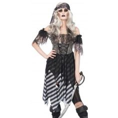 Ghost Pirate Womens Costume Price: $40.50  The black and white tattered dress zips up the back and has lace up front bodice with tattered off the shoulder sleeves. Comes with the matching head wrap. Other items shown sold separately.  #cosplay #costumes #halloween