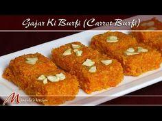 Carrot Burfi (Gajar Ki Burfi) Recipe by Manjula Carrot Halwa Recipe, Burfi Recipe, Indian Dessert Recipes, Indian Sweets, Indian Pudding, Gajar Ka Halwa, Desi Food, Great Desserts, Indian Dishes