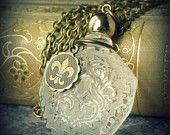 La Fleur de lis Parfum ... necklace perfume bottle gypsy boho chic fleur de lis etched streampunk antiqued gold vintage charm