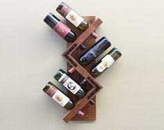 Wood Wall Wine Rack-Handmade Wood Bottle by AdliteCreations