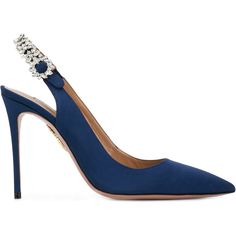 Aquazzura Portrait of a Lady pumps (€775) ❤ liked on Polyvore featuring shoes, pumps, blue, blue leather shoes, pointed toe pumps, sling back pumps, pointed toe ankle strap pumps and high heel stilettos