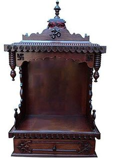 Shop for custom wooden pooja mandir online in the USA. We offer the amazing variety of wooden pooja mandir online in the USA at affordable prices at Karmaplace. Diy Jewellery Drawer, Drawing Room Interior Design, Temple Design For Home, Mandir Design, Pooja Room Door Design, Pooja Rooms, Meditation Space, Wood Lamps, Indian Home Decor