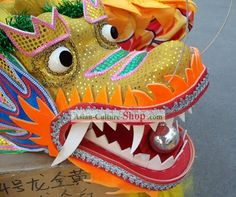 Chinese dragon head parade | Competition and Parade Children Dragon Dance Costume Complete Set