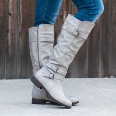 Journee Collection Women's 'Bite' Regular and Wide-calf Buckle Knee-high Riding Boot Buy Boots, Cool Boots, Women's Boots, Henna Designs, Grey Boots Outfit, Plus Size Boots, Discount Womens Clothing, Womens Fashion Stores, Wide Calf Boots