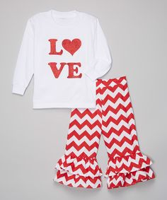 Loving this Beary Basics White & Red 'Love' Tee & Ruffle Pants - Infant, Toddler & Girls on #zulily! #zulilyfinds