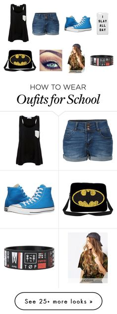 """Fun School Out-fit"" by gabriall-d on Polyvore featuring LE3NO, Solid & Striped, Converse and Reclaimed Vintage"