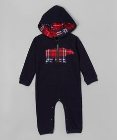 Look what I found on #zulily! Navy Plaid Bear Hooded Romper - Infant #zulilyfinds