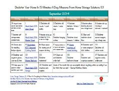 Here's the September 2014 declutter calendar with a daily 15 minute decluttering and organizing mission for each day of the month. Also includes a printable calendar.