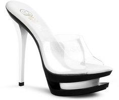 Sexy Doble Plataforma Tacón Alto Transparente superior mulas high heels shoes mujeres adultas