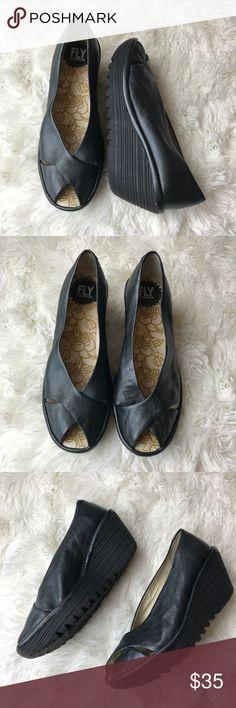 e90c7cb7cfb FLY LONDON Wedge Peep Toe Shoes Size 38 FLY LONDON Black Leather Wedge Peep  Toe Shoes