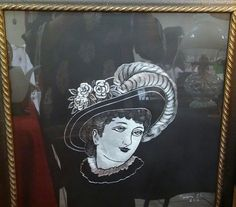 """HAND ENGRAVED SCRATCHED METAL/PAINT """"ANTIQUE LADY"""" PAINTING ART DECO"""