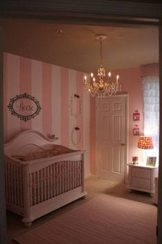 Food, Laughter and Happily Ever After: Guest Post: Pretty in Pink Nursery Beautiful baby girl's room with a dimming chandelier!