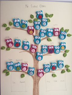 Crochet family tree with owls                                                                                                                                                      More