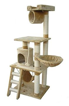 62″ Boston Cat Tree in Beige – Premium Cat Tree for Large Cats and Kittens, Cat Furniture Bundles with Scratching Post, Cat Condo and Cat Tree Hammock, Cheap Cat Trees and Condos | The Purr-fect Cat Store