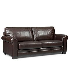 Crosby Leather Seating with Vinyl Sides & Back Sofa Bed, Full Sleeper 82W x 34D x 37H - Couches & Sofas - furniture - Macy's