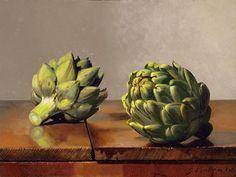 John Morra, Artichokes, 2006, Oil on panel, 9 x 12 in.