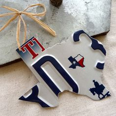 TX license plate ornament. Could be made in all state shapes.