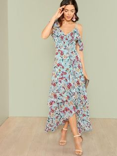 Flower Print Ruffle Hem Dress -SheIn(Sheinside)