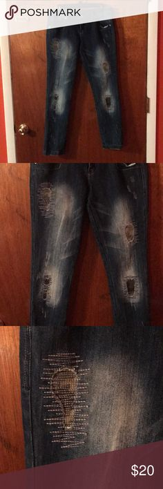 Skinny Jeans NWOT Almost Famous Skinny Jeans.  Got these from TJ MAXX.  They are very cute but to small for me.  These are a juniors size 11 with some stretch.  The length is around 31.  The leg bottoms aren't extremely right abs can be rolled up. Almost Famous Jeans Skinny