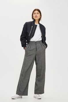 Check wide leg trousers with exposed front zip detail.
