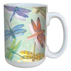 Dragonflies Coffee Mug - $14.99 - Rainbow dragonflies dance across this mug... The perfect way to cheerfully start your day, whether it be with tea, coffee, or cocoa!