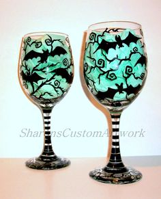 Handpainted Wine Glasses Bats Halloween  Painted Glassware Set of 2 / 20 oz. White Wine Glasses With 6 Batty Bats Flying Black Thorn Trees
