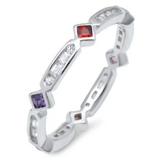 3mm Full Eternity Stackable Band Ring Multicolored Princess Cut Bezel Amethyst Garnet Round Baguette Diamond CZ Solid 925 Sterling Siver