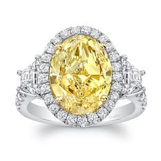 Uneek Fine Jewelry - Contemporary Oval Fancy Yellow Diamond Three-Stone Engagement Ring, in Platinum and 18K Yellow Gold. Handcrafted in Los Angeles, CA ||  Style # LVS1008OVFY - UneekJewelry.com
