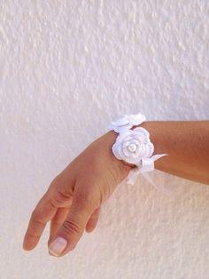 Wedding white crochet  flowered  Bracelet with by ArtofAccessory, $15.00