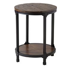 The circular design of the Kirstin round accent table softens the modern impact of its metal frame and riveted brackets. Including a bottom display shelf, this end table features a planked pine top and black iron metal base for a modern industrial look.