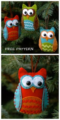 DIY Baby Felt Owl Christmas Ornament Free Sewing Pattern Source by fabricartdiy ideas for christmas Unicorn Christmas, Christmas Owls, Christmas Sewing, Felt Animal Patterns, Felt Patterns Free, Owl Sewing Patterns, Pattern Sewing, Felt Christmas Decorations, Embroidery